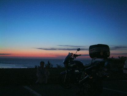 国民宿舎輪島荘から眺める日本海の夕焼け